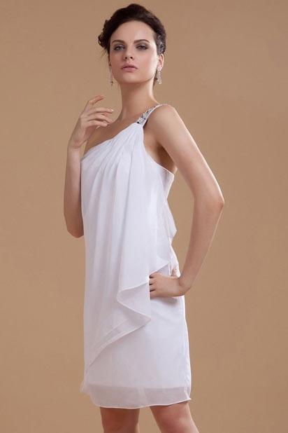 Elegant One Shoulder White Short Chiffon Ruffles Wedding Dress