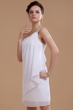 Malvern Charming Chiffon Beading One Shoulder Short Bridal Gown