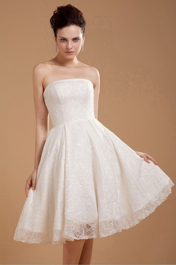 Lace Embroidery Strapless Zipper Short Wedding Dress