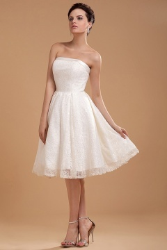 Malton Lace Embroidery Short Bridal Gown Wedding Dress