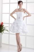 Simple Strapless Rhinestone Taffeta Short Formal Gown