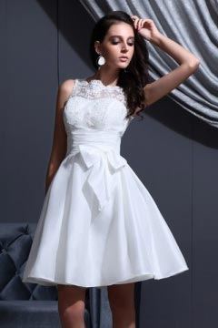 Short White Classic Bateau Empire Sash Destination Bridal gown