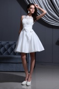Taffeta Applique Short Formal Gown with Straps