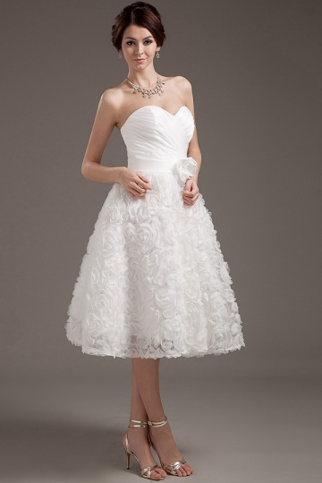 Dressesmall Elegant Satin Sweetheart Short Mini Lace Formal Gown