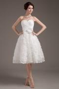 Vestido de noiva bustiê pontilhado coração de flores em tafetá