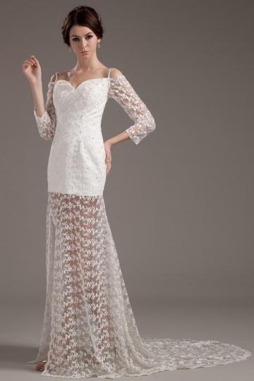 Kurzes seitliche Schlitz Perlen verziertes Hochzeitskleid mit Ärmel Persun