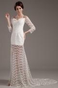 Elegantes Spaghettiträger seitliche Schlitz Perlen Brautkleid mit 3 / 4 Ärmel