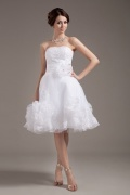 Organza Strapless Layered Short Formal Gown