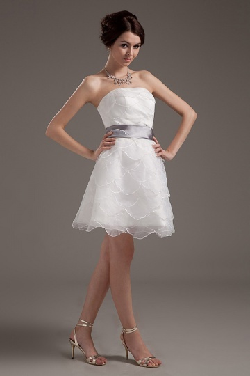 Dressesmall Organza Layered Ruffle Strapless Short Formal Gown