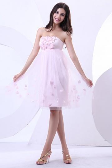 Mini Vestido rosa bustiê Império decorado de pétalas