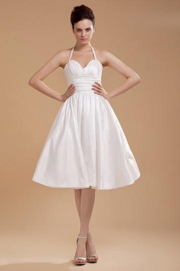 Vestido de noiva simple com alça ao redor de pescoço em tafetá