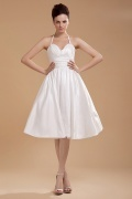 Sexy Ruched Halter Taffeta Short Formal Gown Persun