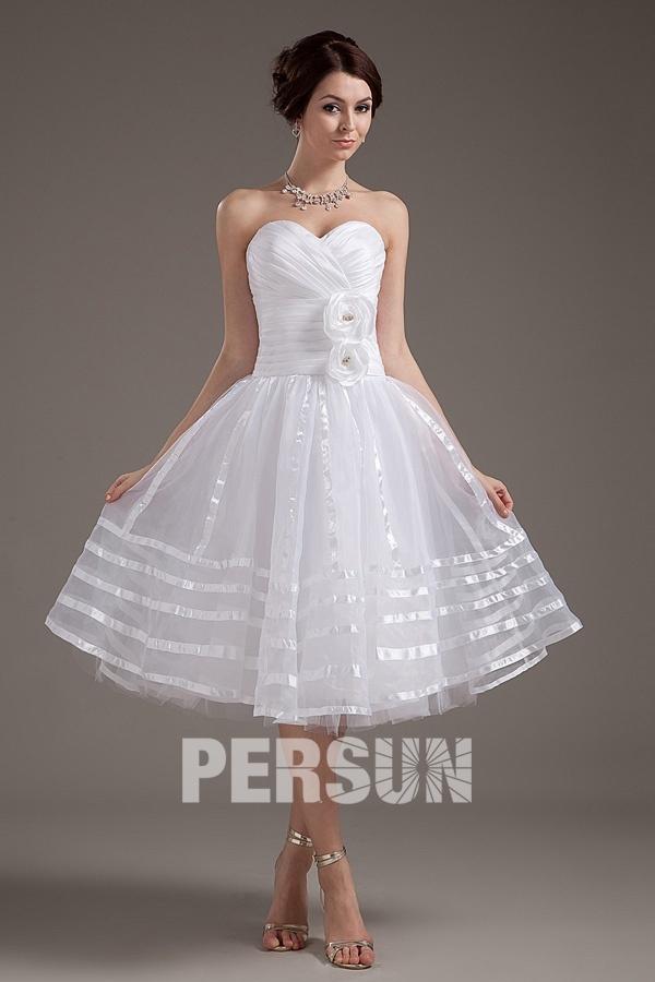 A-Linie Blume Herz-Ausschnitt Empire weiß  kurze Brautkleider aus organza