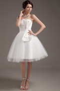 Princess Bow Ruffle Tulle Short Formal Gown