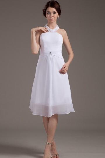 Vestido curto branco simple em Chiffon tripulação pescoço