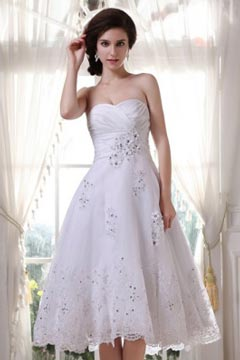 Long Eaton Charming Tulle Beading Ruffle Bridal Gown
