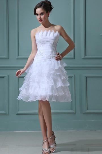 Vestido de noiva bustiê pregueado curto em organza