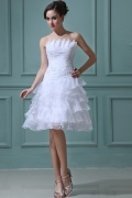 Beading Organza Layered Short Formal Gown