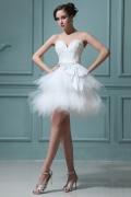 Mini Vestido de noiva bustiê coração saia queimada