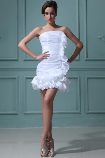 Vestido de noiva curto tomara que caia bustiê pregueado em tafetá