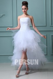 Fashionable Ruffles Tierd Strapless Tulle High low Wedding Dress