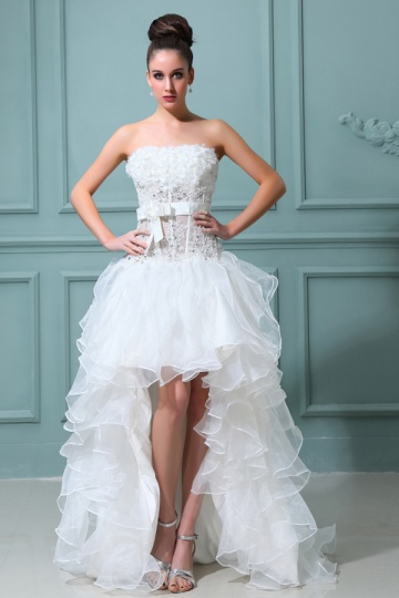 Organza Ärmelloses Perlen Applikation Schleife High Low Brautkleid Persun