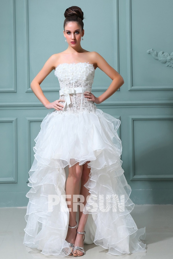 Cute Strapelss High Low A Line Strapless beading lace white princessOrganza Wedding Dress