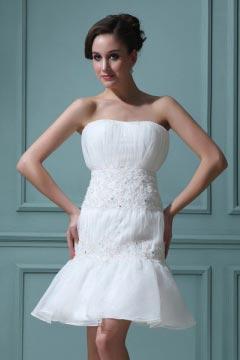 Mini robe bustier Empire blanche en organza