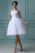 Lace Ruffles Strapless Short & Mini Wedding Dress