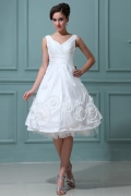 Taffeta V Neck Ruffles Flowers Short & Mini Wedding Dress