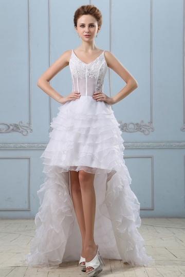 Vestido de noiva sensual decote em V decorado com uma blusa semi-transparente