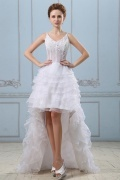 Organza V Ausschnitt High Low Perlen Applikation Brautkleid