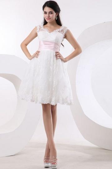 Vestido de noiva renda com manga pequena Império curto