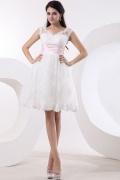 Tulle Satin Lace Sleeveless Bateau Short & Mini Wedding Dress