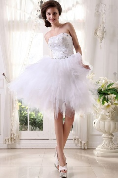Leicester Tulle Satin Sweetheart Beads Short Bridal Gown Wedding Gown