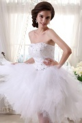 Tulle Satin Sweetheart Beads Short Formal Dress