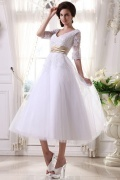Tea length Wedding Dress with Lace Sleeves & Champagne Waistband
