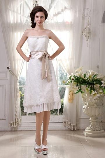 Elegantes Knielanges Herz Ausschnitt Ärmelloses Schleife Brautkleid Persun