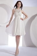 Hollow Out Organza & Chiffon & Lace Halter Short Formal Dress