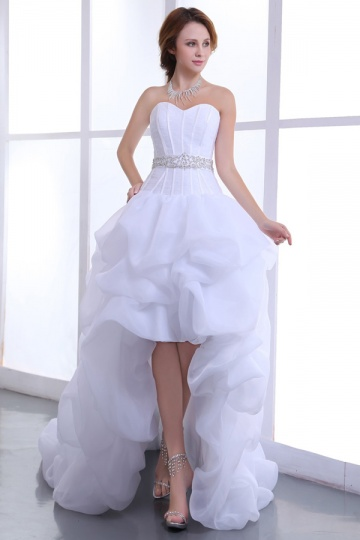 Vestido noiva bustiê coração Frente curta em organza
