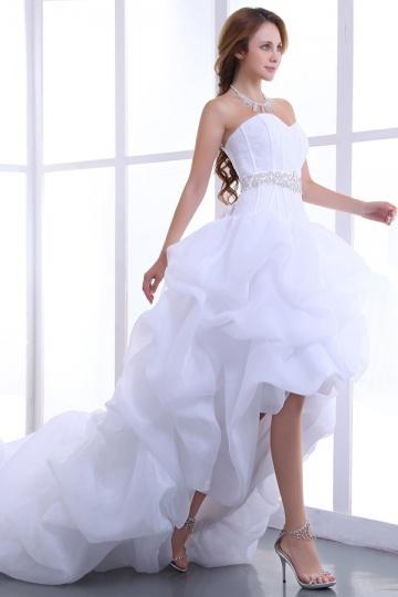 Ärmelloses Perlen High Low Organza Hochzeitskleid mit Schnürung Persun