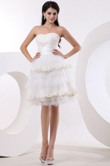 Mini Vestido de noiva bustiê tomara que caia coração em Tule