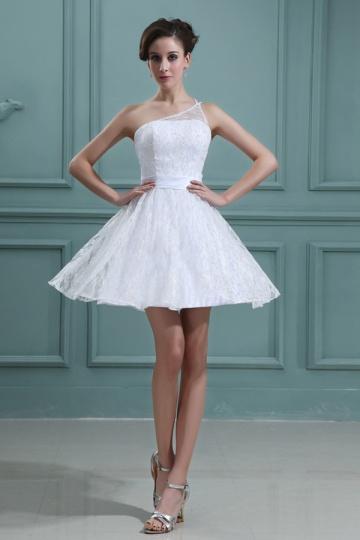 Mini Vestido renda branco decote assimétrico