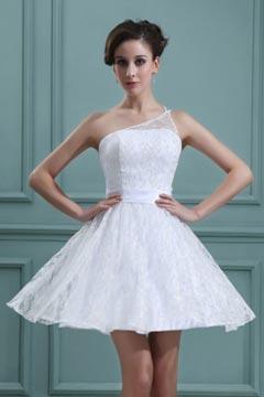 Mini robe dentelle blanche col asymétrique