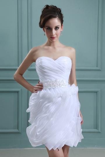 Mini Vestido de noiva bustiê coração pregueado em organza