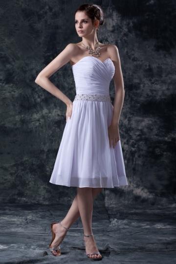 A-Linie Herz Ausschnitt Perlen verziertes knielanges Brautkleid Persun