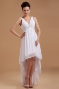 Sexy Beading Applique V Neck High Low Chiffon Wedding Dress