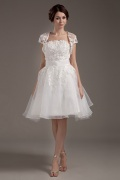 Organza Strapless Ruffle Sash Short Formal Gown