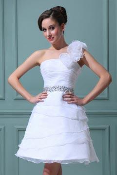Süßes Ein-Schulter Blume Perlen Organza kurzes Brautkleid