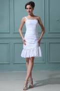 Taffeta One Shoulder Sweetheart Ruffle Short & Mini Cocktail Gown